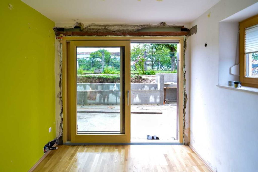 Rotted door frame before sliding glass door replacement, Green Eco Solutions