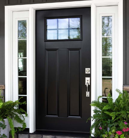 custom energy efficient smooth steel door replaced by Green Eco Solutions