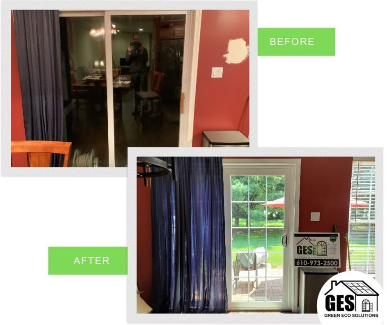DaSilva Sliding Glass Door before and after by Green Eco Solutions in Alburtis, PA