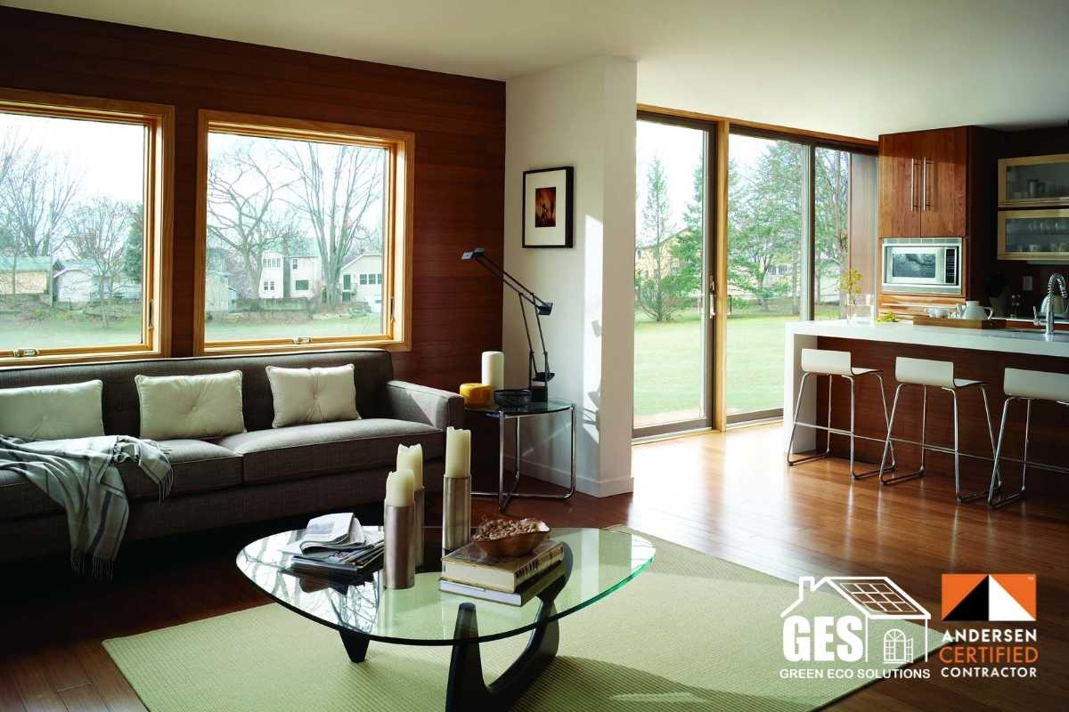 Modern Awning Replacement in Living Room andersen 400 series awning windows
